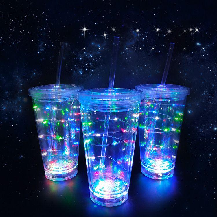 工厂定制 灯串发光吸管杯 双层 ps材质