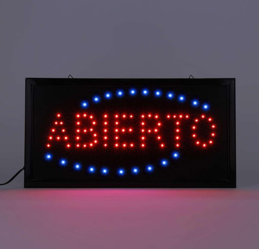 厂家直销LED广告牌 LED标识牌  Abierto sign 48×25