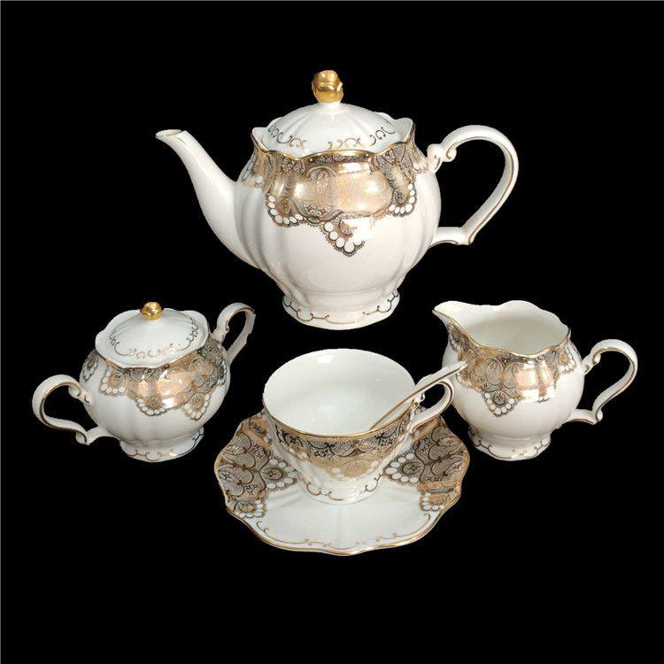 23头新骨瓷陶瓷茶具6人套镶金圆滑6杯子茶壶酒店送礼家用15949N