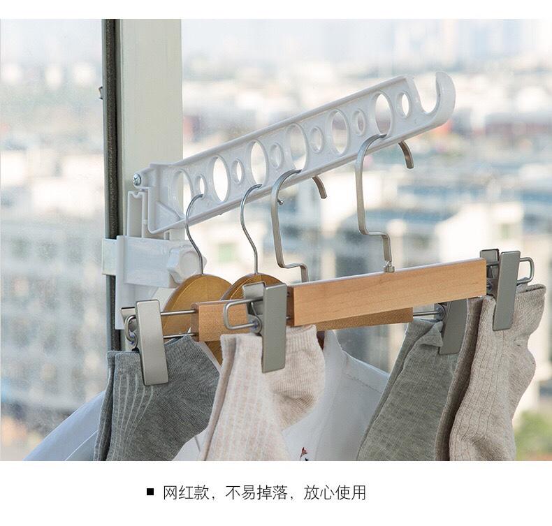 家用简易晾衣架 免打孔窗框挂衣架子折叠晾衣杆阳台晒衣架