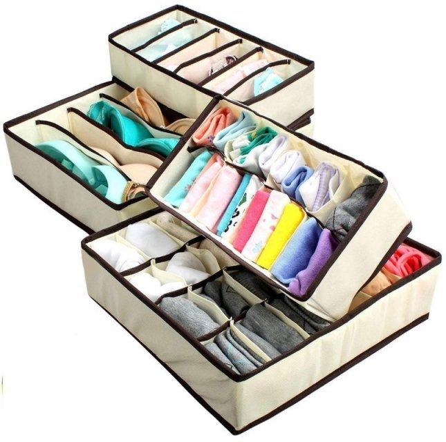 现货 无纺布 无盖内衣收纳盒四件套 文胸袜子整理收纳盒