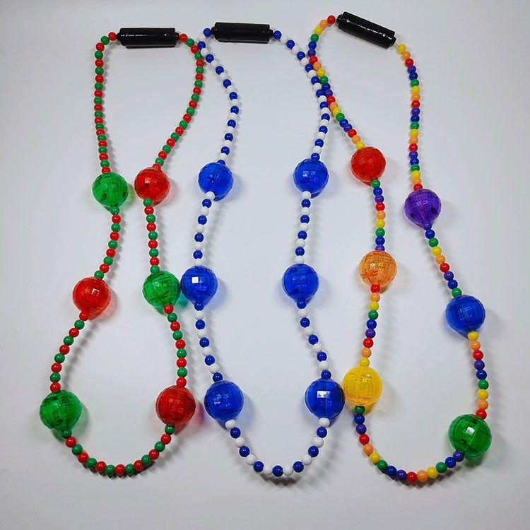 LED彩虹珠项链 大灯珠项链 圣诞节新款发光项链