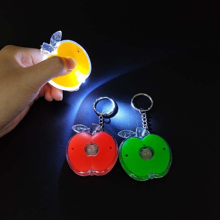 LED发光钥匙扣 苹果 圆形 衣服钥匙扣 环保塑料 创意小礼品