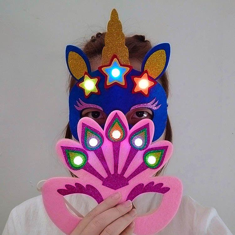 新款孔雀面具发光面具发光帽派对聚会 舞会面具