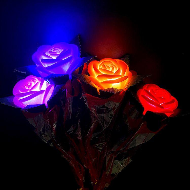 七夕发光玫瑰花led 玫瑰节日礼物 地推活动晚会赠品