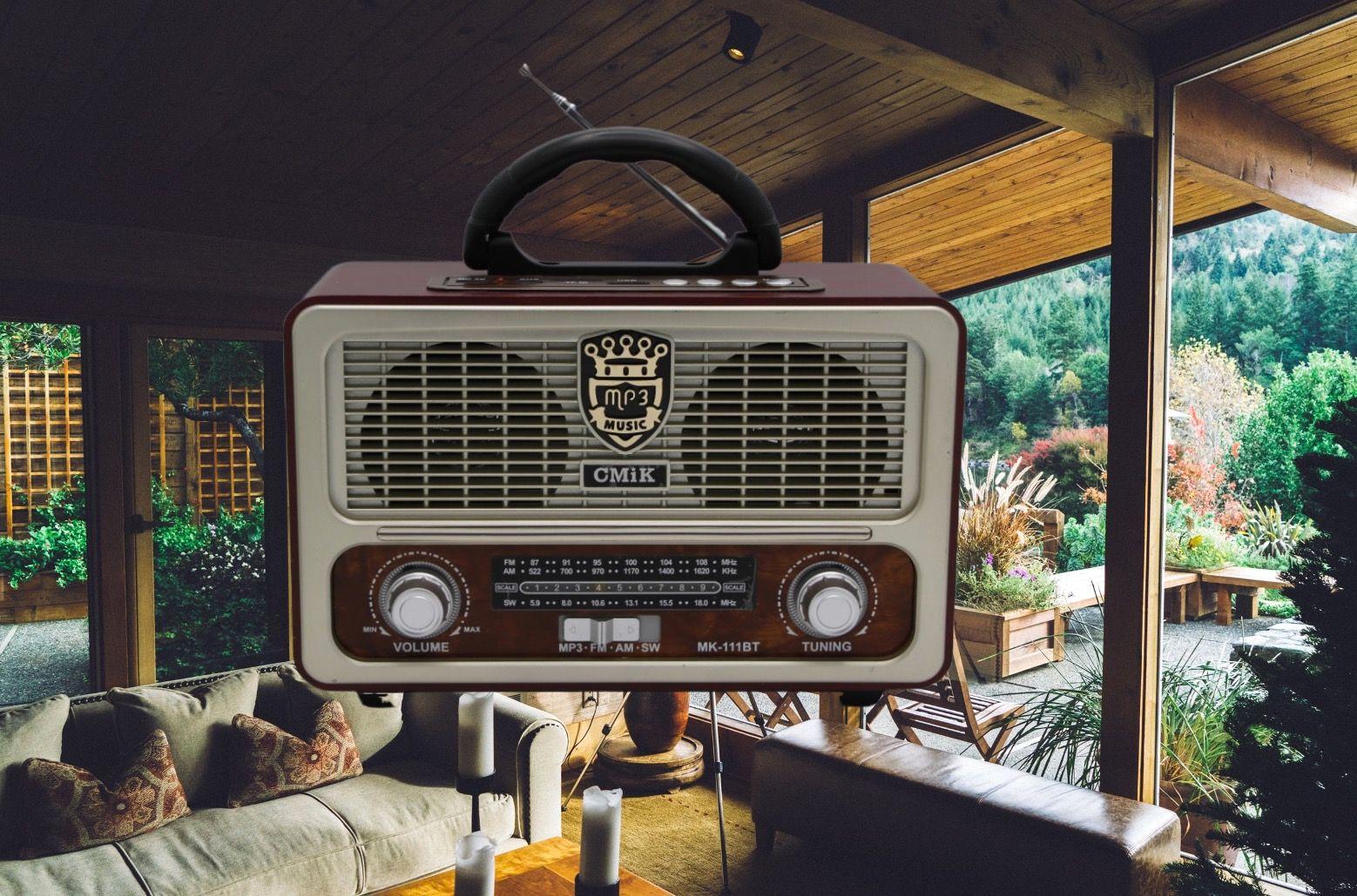CMiK音响 MK-111BT插卡多波段蓝牙收音机 仿古机