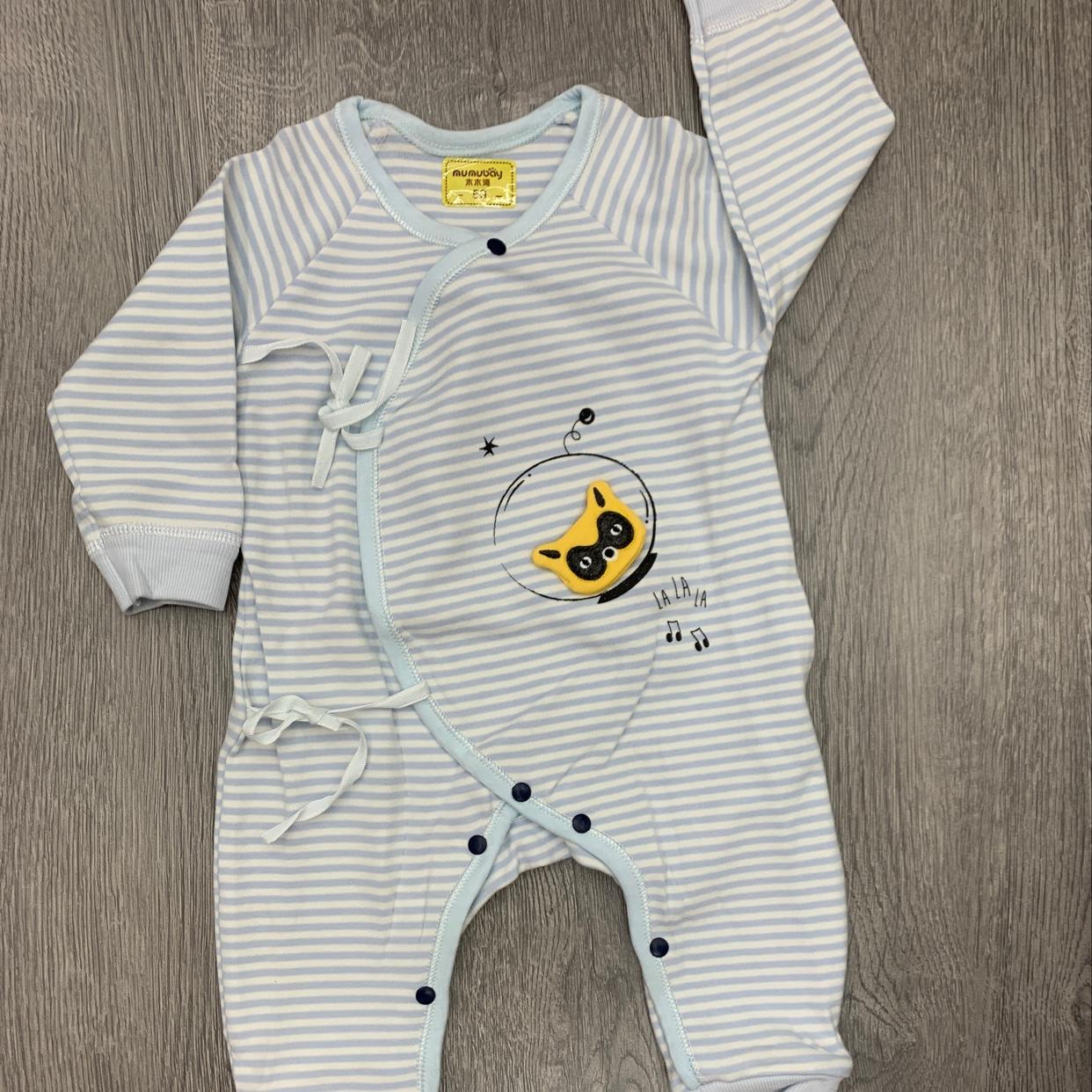 婴儿连体猫咪图案条纹婴儿套装排扣纯棉