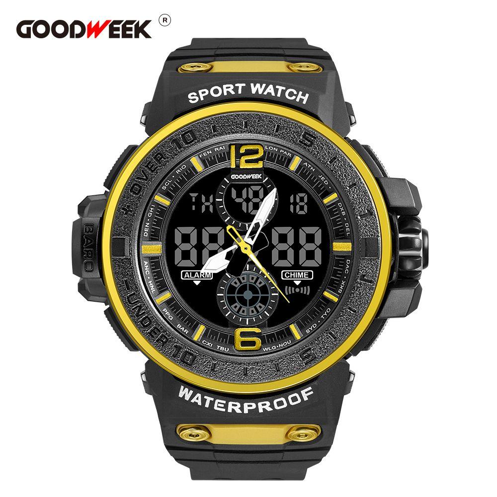 GOODWEEK男式运动手表防水军旅男式腕表Led石英表
