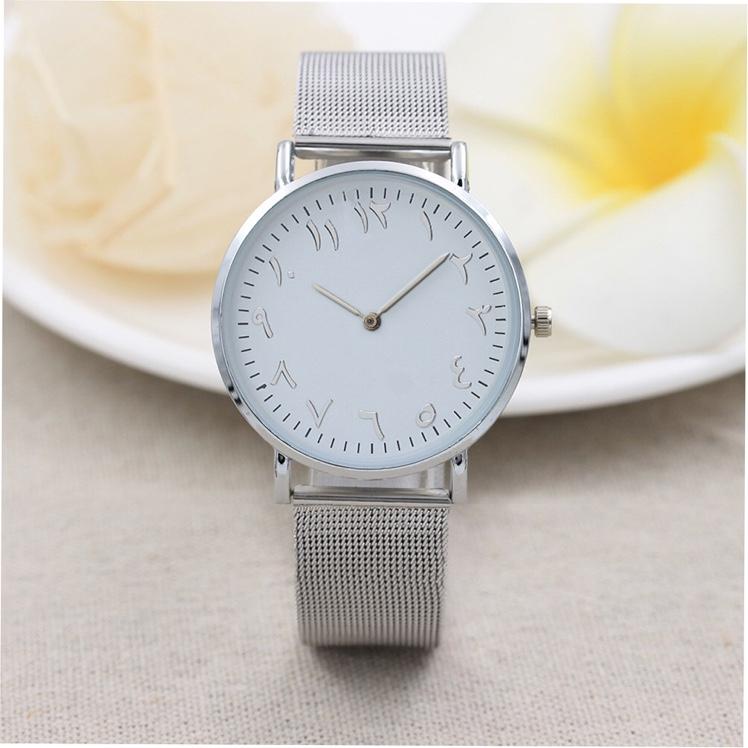 热款钢丝带女士手表 超薄两针石英手表女 数字刻度手表厂家批发