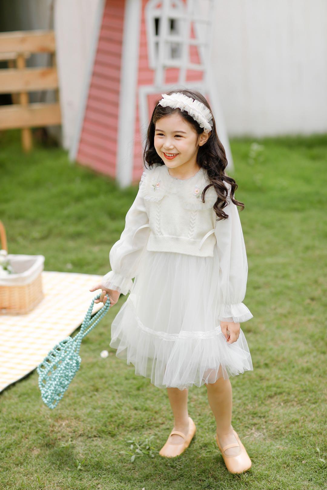 2020冬季中童连衣裙-绣花毛线纱裙两件套-米粉