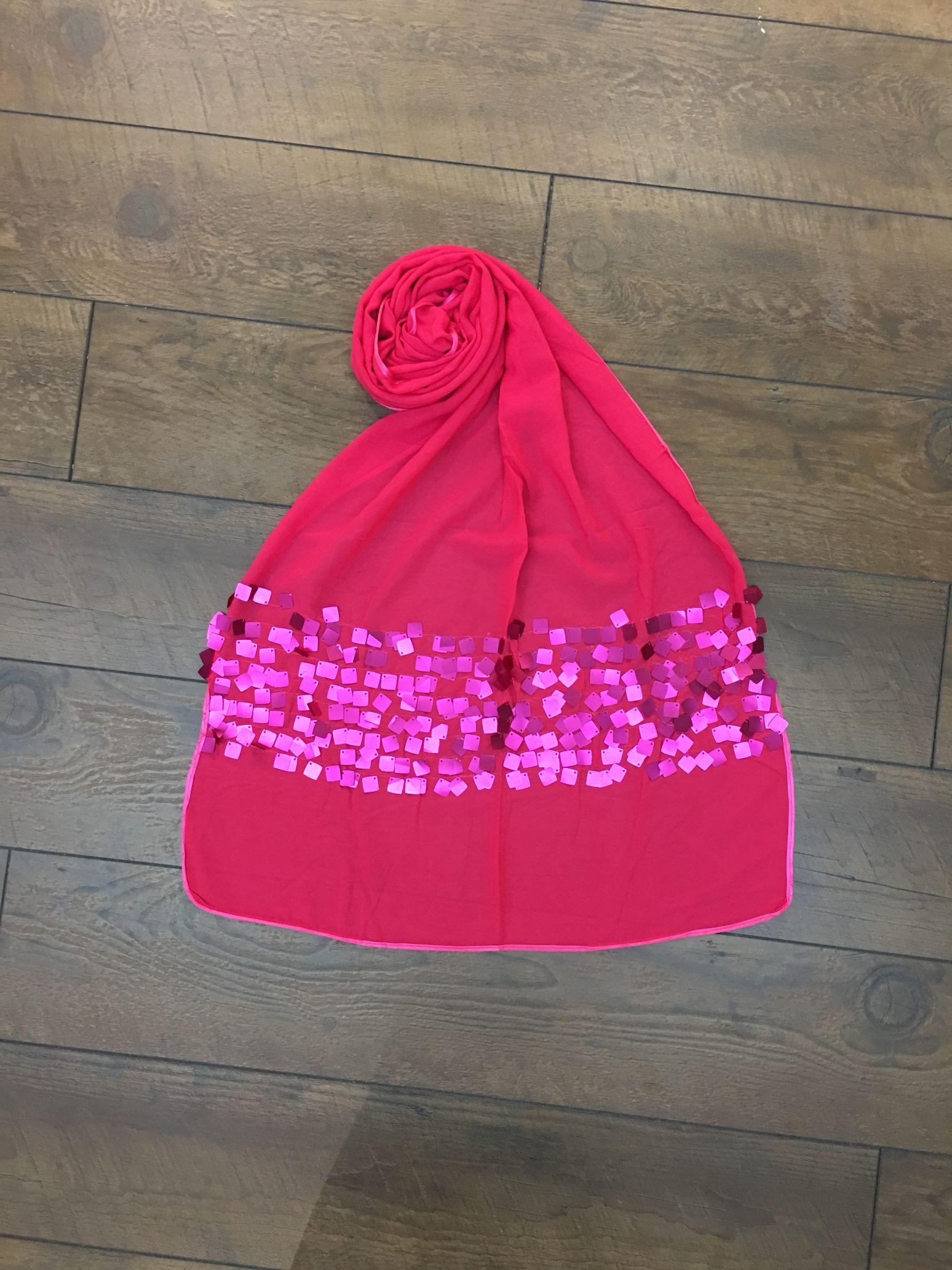 玫红小方块亮片长巾披肩围巾
