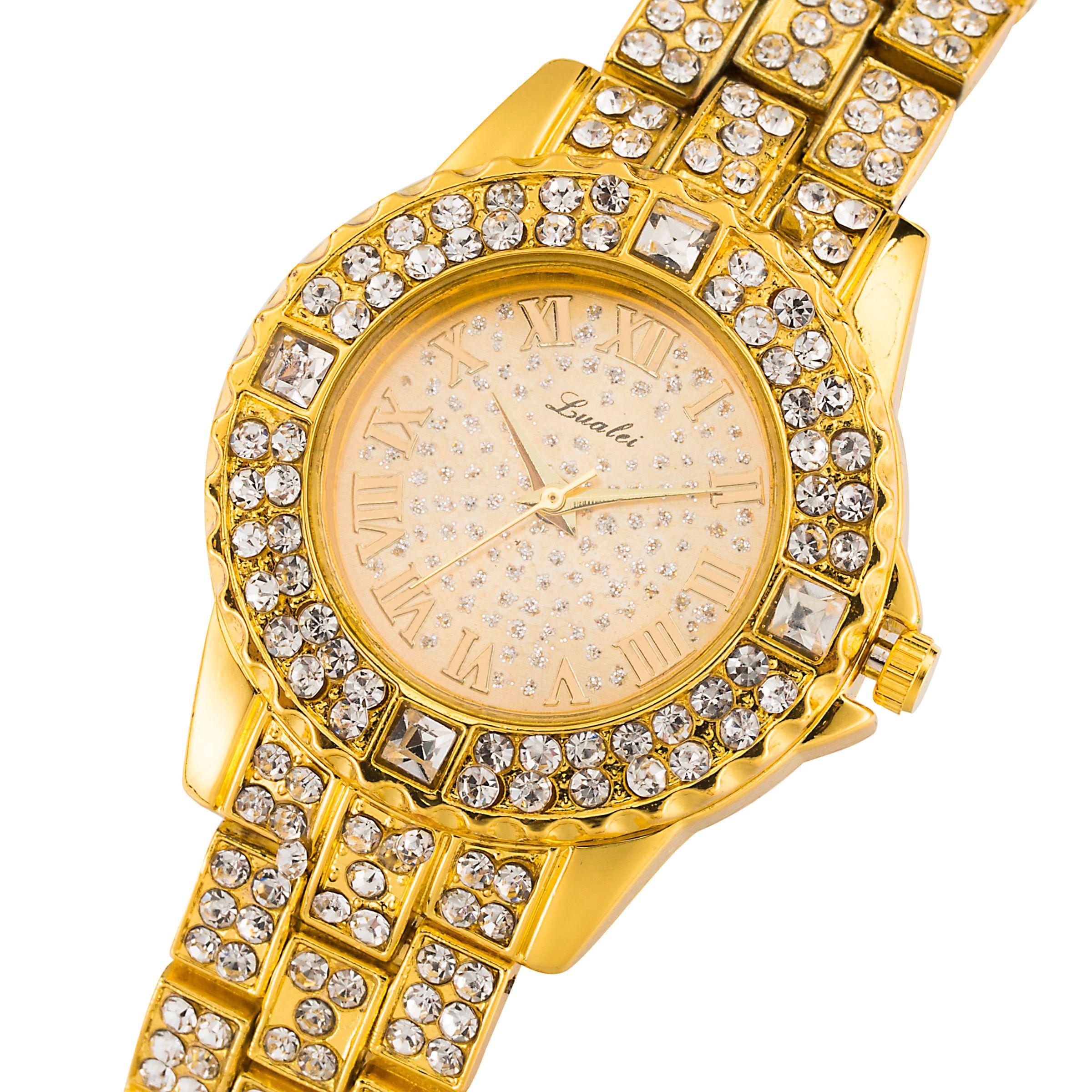 LAZADA爆款跨境外贸时尚女士手表镶钻合金手链表满天星女士石英表