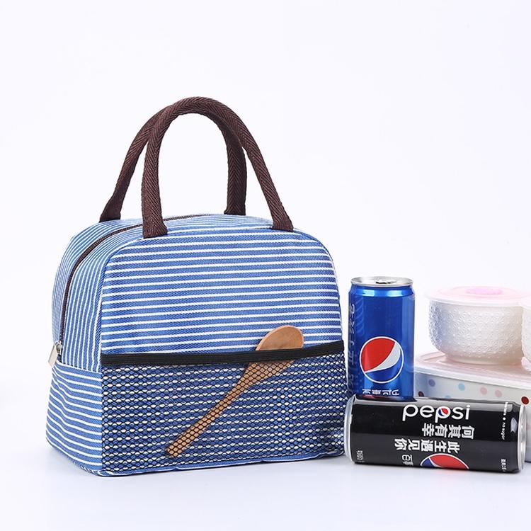 现货经典条纹午餐包铝箔保温袋学生便当包饭盒袋