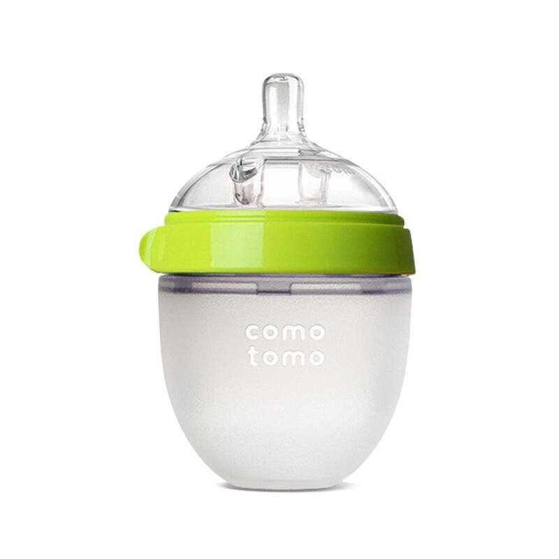 韩国可么多么 (COMOTOMO) 新生儿婴儿 宽口径硅胶断奶奶瓶奶嘴(0-3个月)原装进口150ml绿色