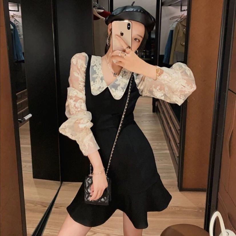 名媛小香风拼接假两件连衣裙