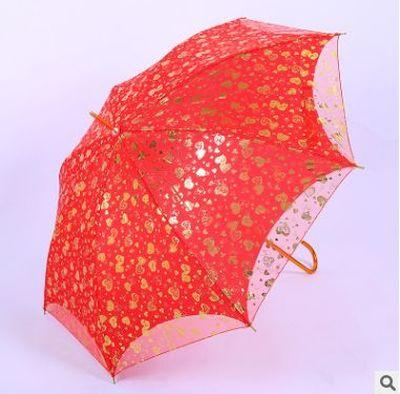 厂家长柄红色陪嫁喜伞 结婚双层心心相印雨伞 婚庆绣花新娘伞批发
