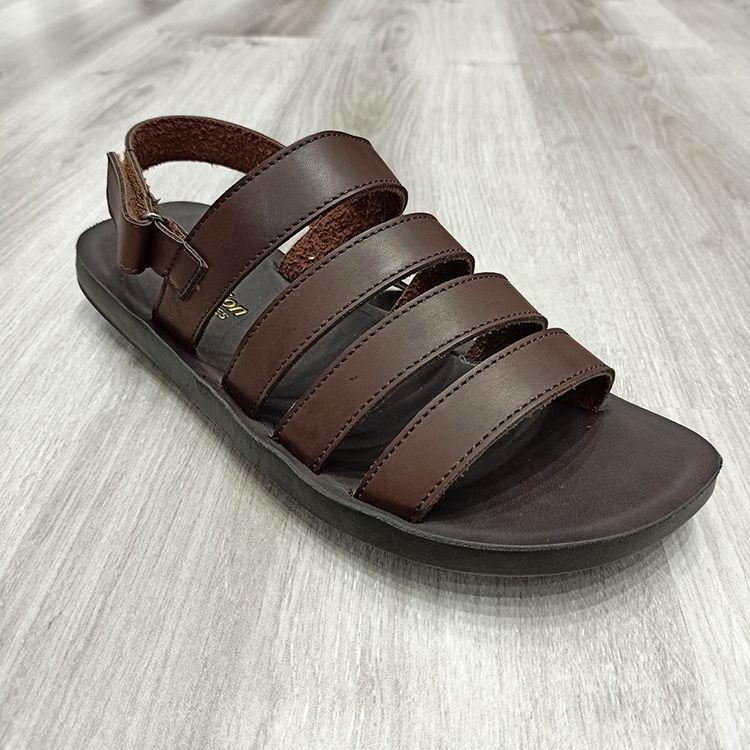 Classic four-sided horizontal grain PU upper men's sandals