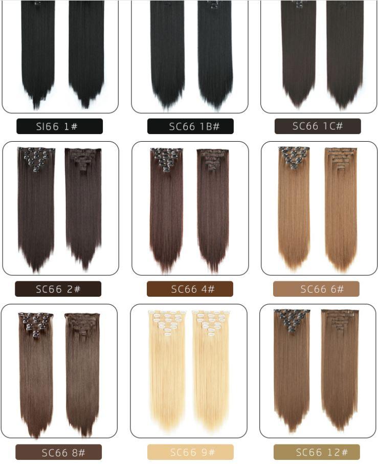 新款   假发七件套直接发片欧美化纤纯色长直假发片渐变色