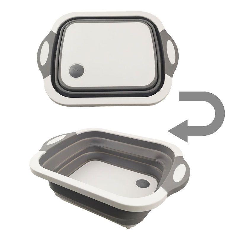 折叠菜板亚马逊新款多功能切菜板塑料便携洗菜盆厨房水槽一件代发