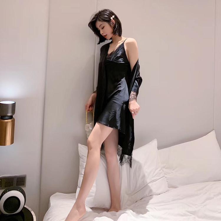 秋季2020新款维密性感情趣女睡衣女吊带带胸垫开叉睡裙睡袍两件套缎面雪纺家居服诱惑情趣二件睡袍