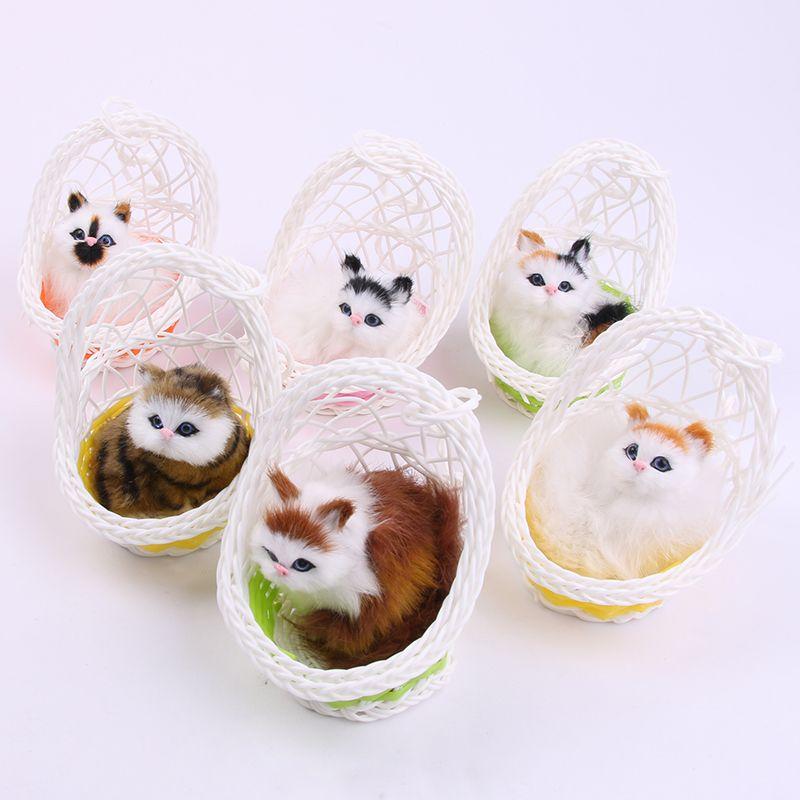 仿真会叫吊篮动物猫咪模型玩偶儿童玩具情人节生日礼物毛绒玩具
