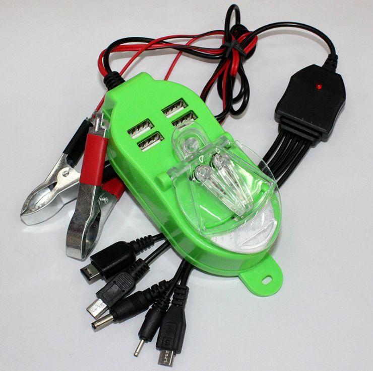 新款太阳能四个USB接口一拖五手机夹子充非洲电瓶夹子充电器