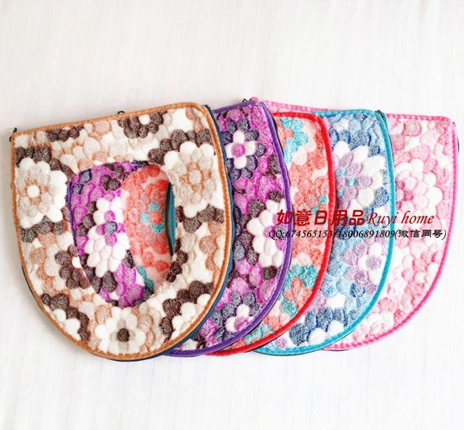 宝石花珊瑚绒胶印马桶垫 粉蓝紫咖粘扣款和拉链款