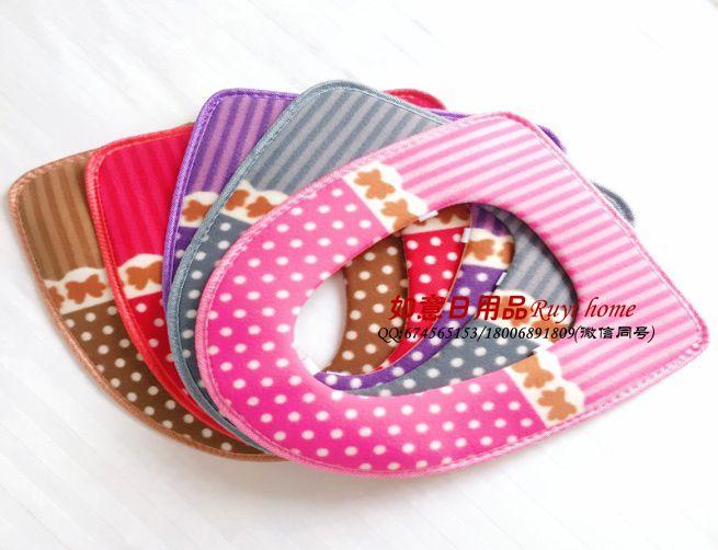 拉毛绒定位圆点马桶垫 红粉紫咖灰 粘扣款 (拉链款需要定制)