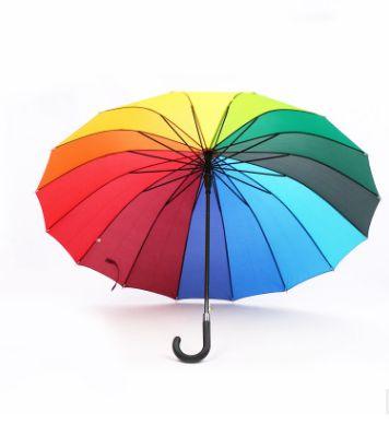 厂家直销彩虹伞 新款广告伞定做雨伞直杆 正品70*16k广告雨伞批发