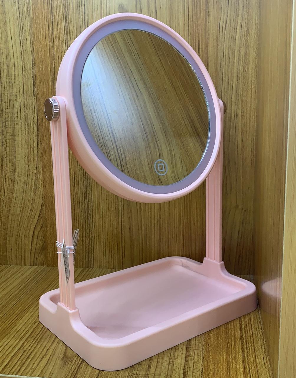 充电LED化妆美颜镜子灯带收纳盒