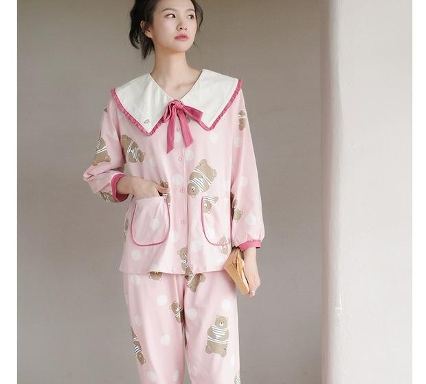 睡衣女长袖长裤两件套纯棉小熊印花可爱甜美家居服