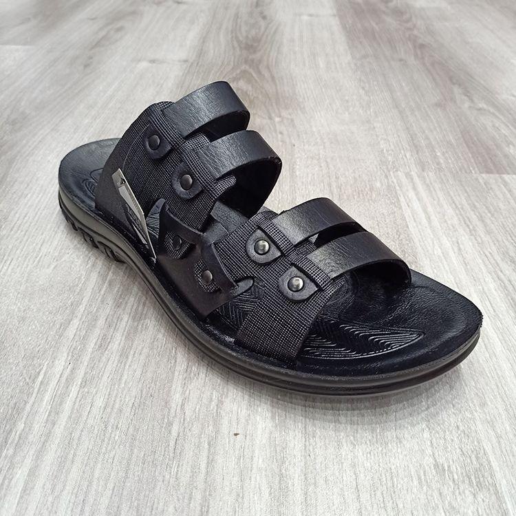 外贸定制时尚真皮男士沙滩凉拖鞋new men's slippers