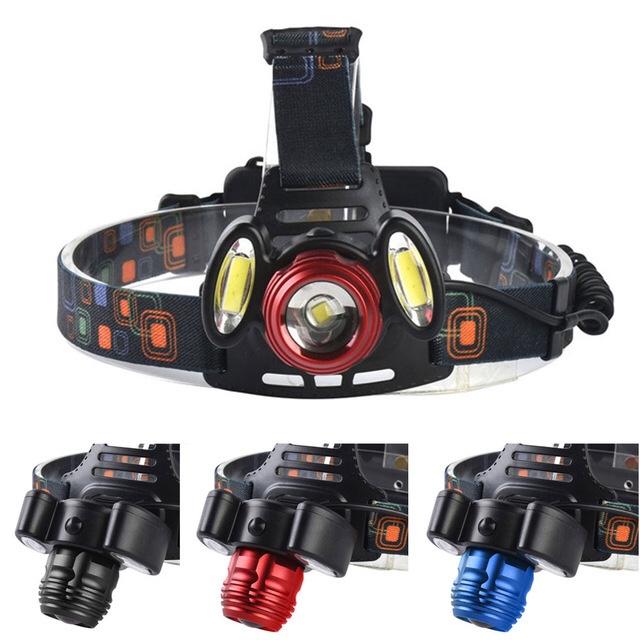 XQ-150 LED户外野营强光铝合金大功率30W三头锂电池充电变焦T6夜钓鱼头灯