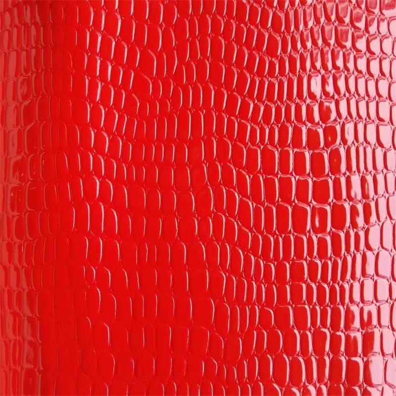 工厂现货PVC石头纹高光亮面革镭射纺织箱包手袋PU皮革面料