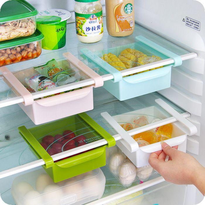创意抽动式置物盒多用整理收纳盒 冰箱保鲜隔板层