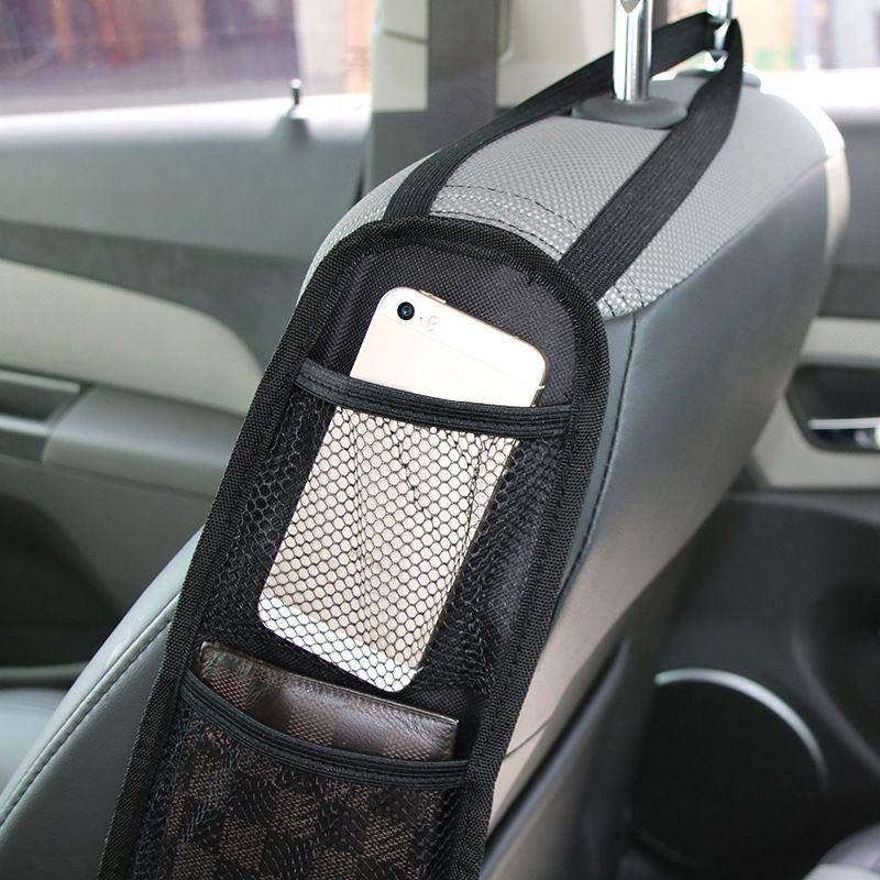 新款汽车座椅收纳袋 车载椅背侧边挂袋储物袋带网袋批发