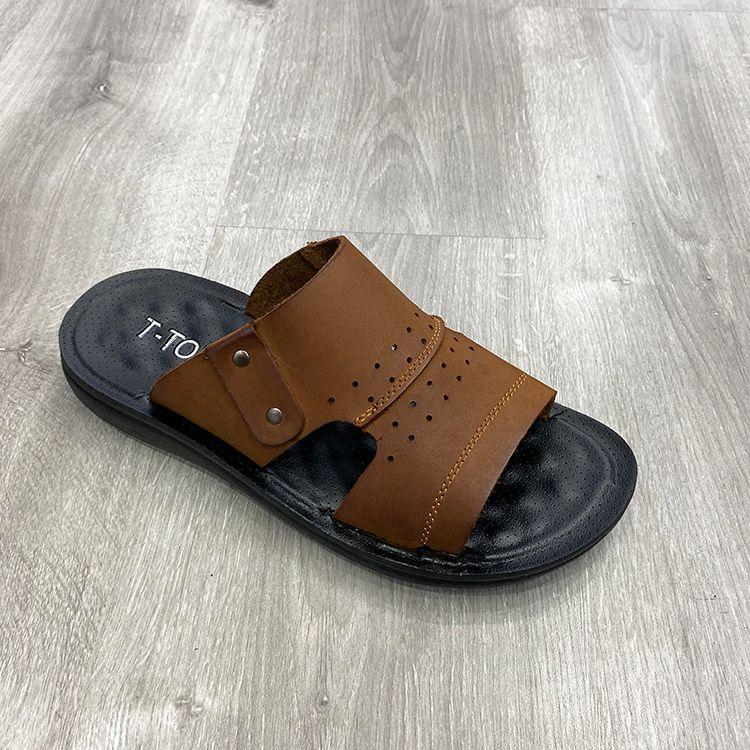 men shoes genuine leather slipper massage 男士真皮拖鞋按摩
