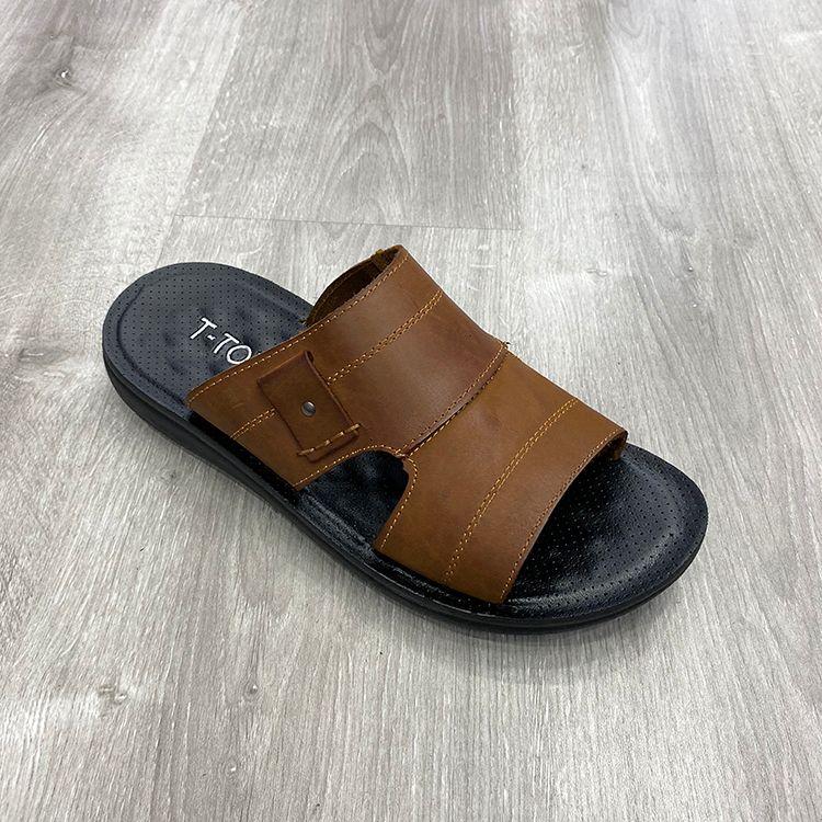 beach style men slipper massage sole 沙滩凉拖鞋真皮男拖