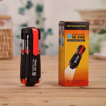 多功能6LED灯八合一组合螺丝刀五金修理迷你便携式多功能维修工具