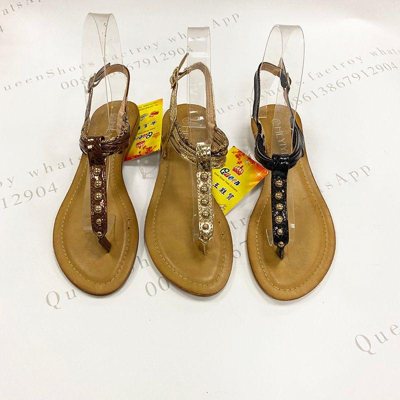 stock women sandals鞋子现货经典款金属扣夹脚柔软平底女凉鞋