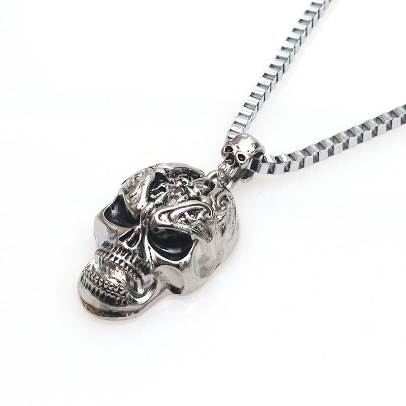 新款不锈钢男士鬼头吊坠 炫酷星星骷髅头项链 项饰金银两色