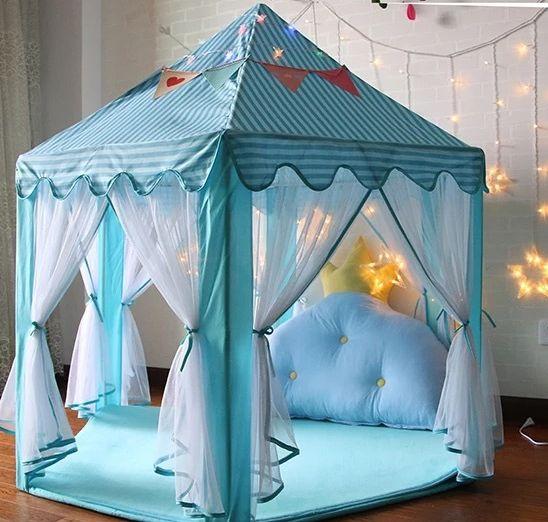 儿童室内薄纱六角帐篷宝宝装饰游戏屋 公主游戏城堡帐篷玩具屋
