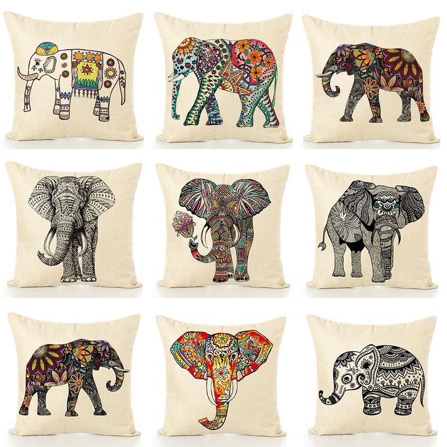 亚马逊爆款卡通大象花象系列抱枕来图定制沙发靠垫厂家直销不含芯