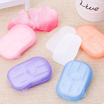酒店旅行一次性香皂片20片盒装香皂纸便携洗手片小肥皂迷你肥皂纸