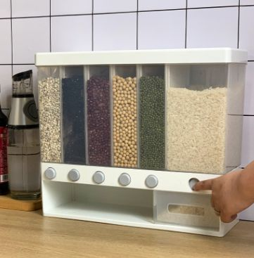 壁挂式分格五谷杂粮罐米桶分类计量米缸自动出米塑料储物罐密封罐