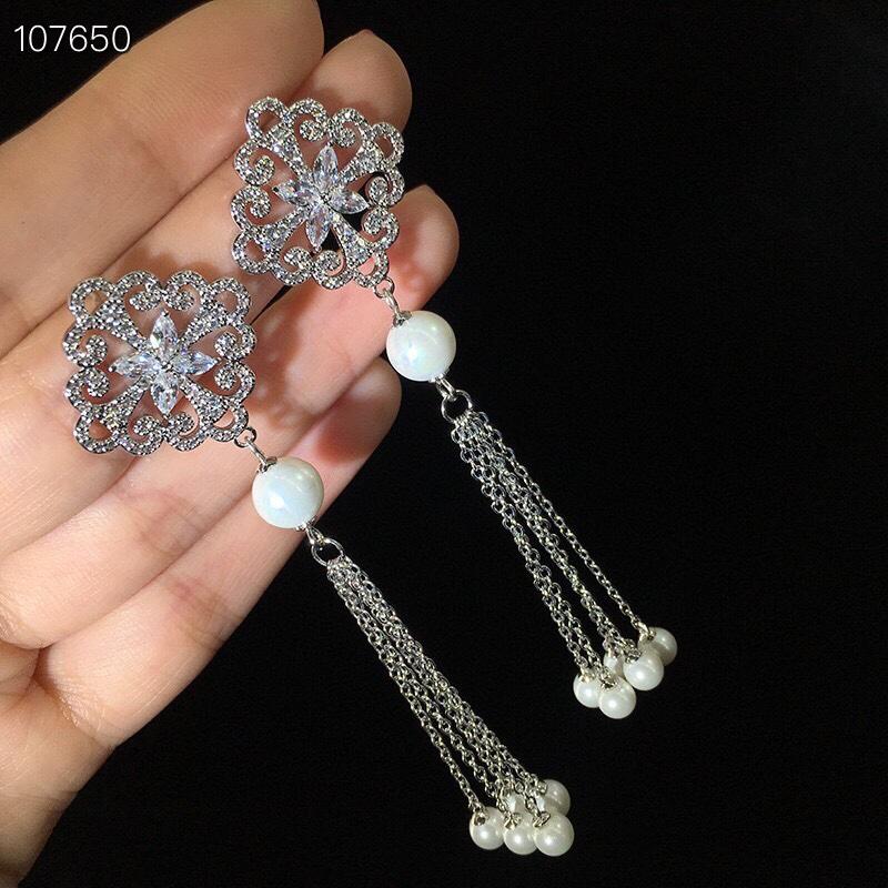 闪耀锆石珍珠流苏气质长款显脸瘦耳环