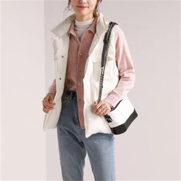 秋冬新款纯色羽绒马甲宽松无袖翻领单排扣马甲外套双口袋