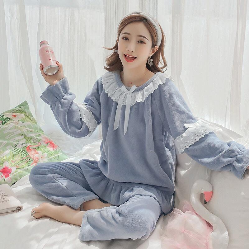 春秋冬珊瑚绒睡衣女冬季韩版可爱公主风家居服法兰绒加厚保暖蓝色