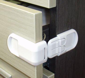 宝宝安全锁 抽屉锁 双按钮直角锁 儿童安全防护用品锁扣