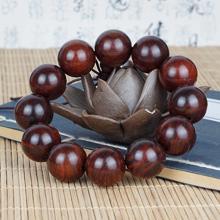 天然老挝老料酸枝老红木佛珠大红酸枝高密度黑色檀木手串手链念珠